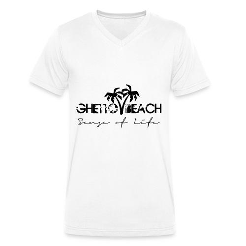 Ghetto Beach Logo - Männer Bio-T-Shirt mit V-Ausschnitt von Stanley & Stella