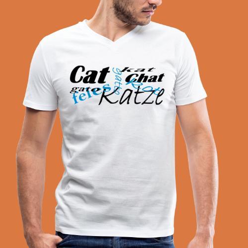 Katze in verschiedenen Sprachen - Männer Bio-T-Shirt mit V-Ausschnitt von Stanley & Stella