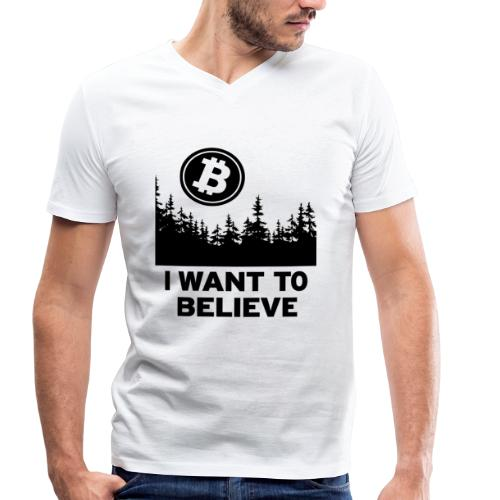 I Want to Believe ... - Bitcoin Shirt Design - Männer Bio-T-Shirt mit V-Ausschnitt von Stanley & Stella