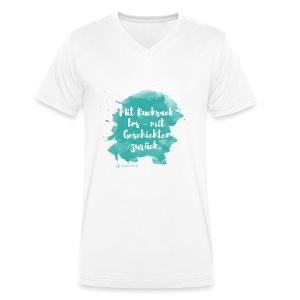 Mit Rucksack los, Farbklecks, weiß - Männer Bio-T-Shirt mit V-Ausschnitt von Stanley & Stella
