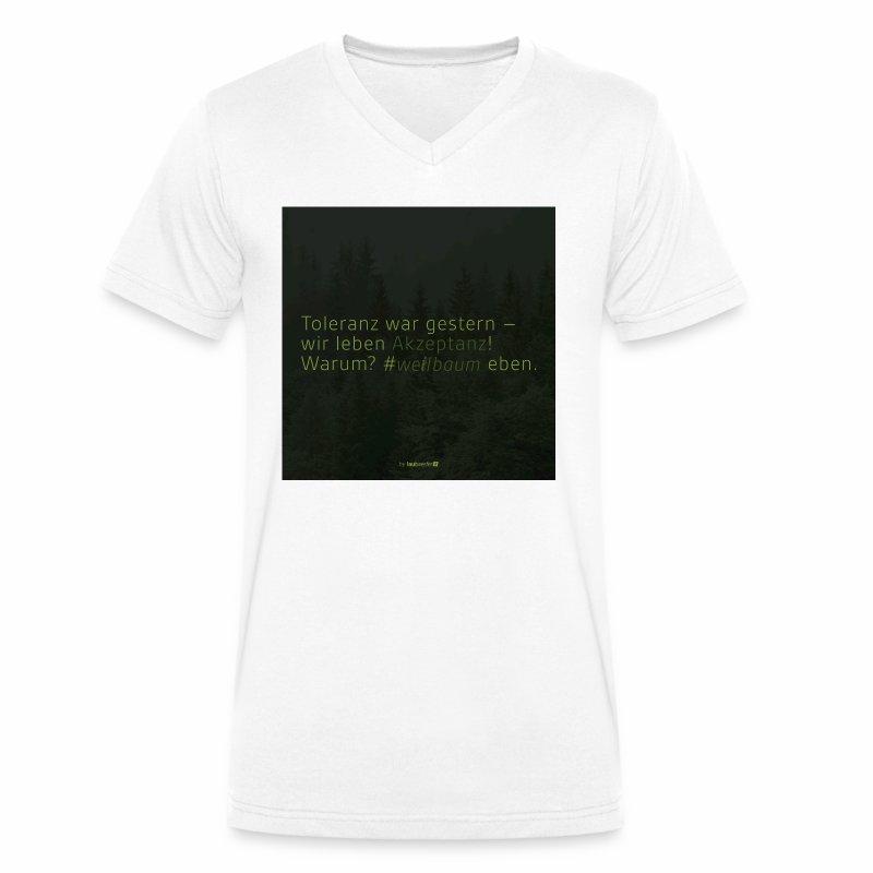 #weilbaum-T-Shirt Akzeptanz - Männer Bio-T-Shirt mit V-Ausschnitt von Stanley & Stella