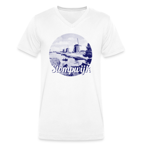 Stompwijk blauw - Mannen bio T-shirt met V-hals van Stanley & Stella