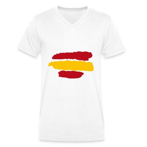 Bandera España - Camiseta ecológica hombre con cuello de pico de Stanley & Stella