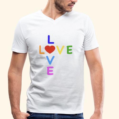 LOVE Cross rainbow heart 001 - Männer Bio-T-Shirt mit V-Ausschnitt von Stanley & Stella