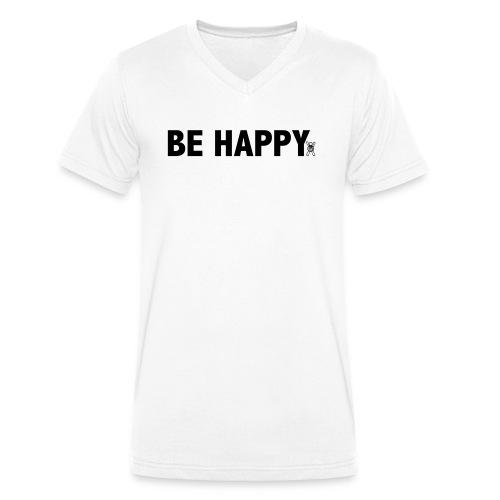 Be Happy - Mannen bio T-shirt met V-hals van Stanley & Stella