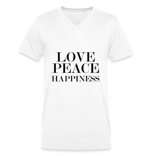 Love Peace Happiness - Männer Bio-T-Shirt mit V-Ausschnitt von Stanley & Stella