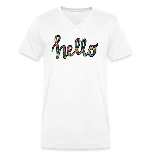 Colourful HELLO in black - Men's Organic V-Neck T-Shirt by Stanley & Stella