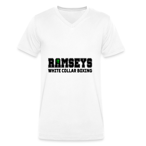 Ramseys White Collar Boxing Black Logo - Men's Organic V-Neck T-Shirt by Stanley & Stella