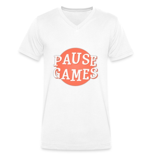 Pause Games Logo - Men's Organic V-Neck T-Shirt by Stanley & Stella