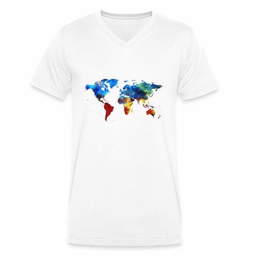 Bunte Welt - Männer Bio-T-Shirt mit V-Ausschnitt von Stanley & Stella