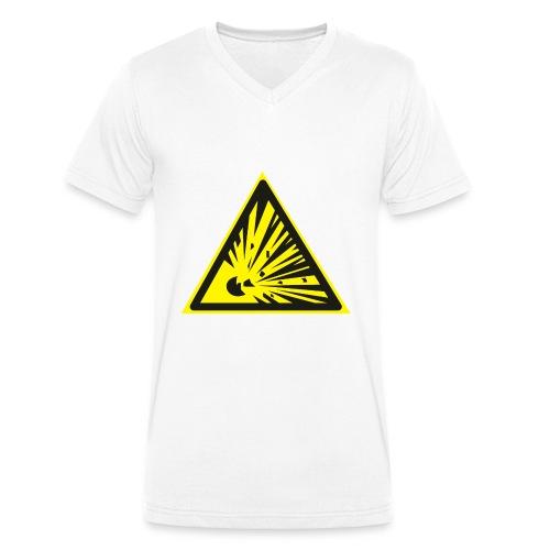 Uwaga! Materiał Wybuchowy! - Ekologiczna koszulka męska z dekoltem w serek Stanley & Stella