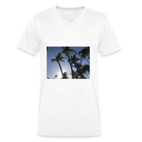 Karibik Palmen - Männer Bio-T-Shirt mit V-Ausschnitt von Stanley & Stella