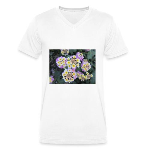 Flower power Nº8 - Camiseta ecológica hombre con cuello de pico de Stanley & Stella