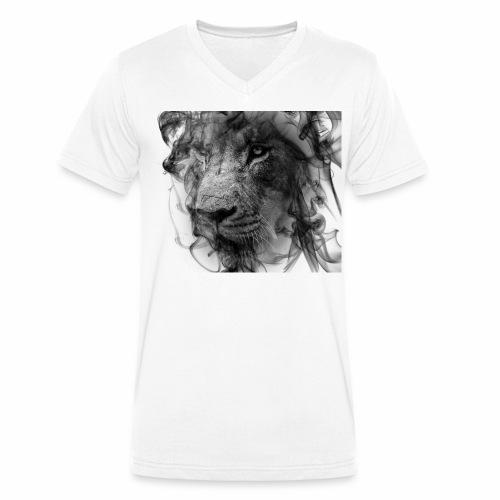 smokeLion - Männer Bio-T-Shirt mit V-Ausschnitt von Stanley & Stella