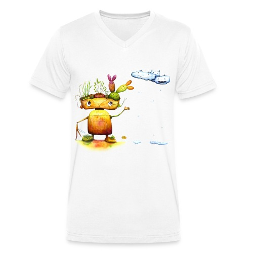 Robot with his plant friends - Mannen bio T-shirt met V-hals van Stanley & Stella