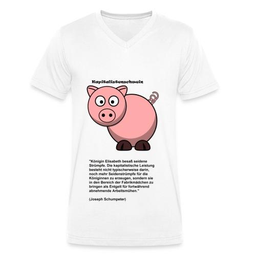Kapitalismus Schwein weiß - Männer Bio-T-Shirt mit V-Ausschnitt von Stanley & Stella