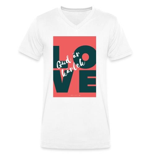 Gud är kärlek - Ekologisk T-shirt med V-ringning herr från Stanley & Stella
