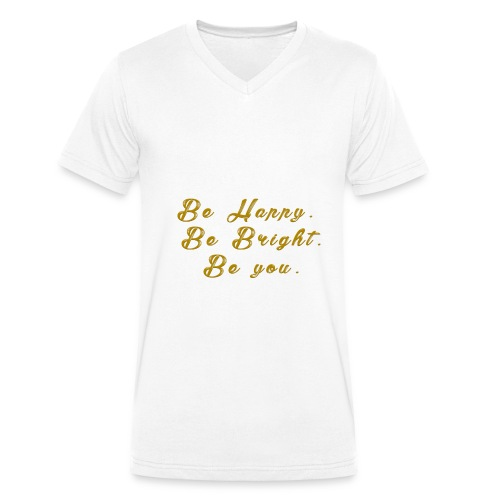 Be happy - Ekologisk T-shirt med V-ringning herr från Stanley & Stella
