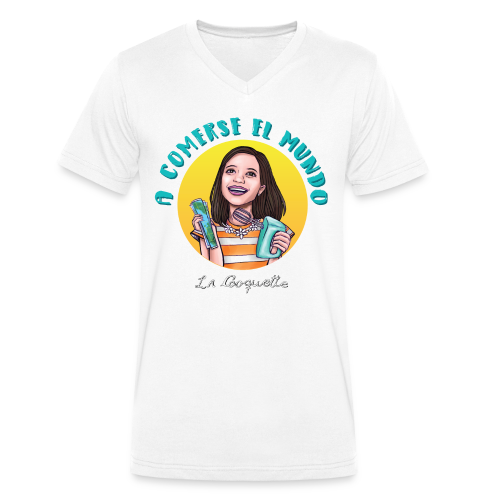 La Cooquette Mundo - Camiseta ecológica hombre con cuello de pico de Stanley & Stella
