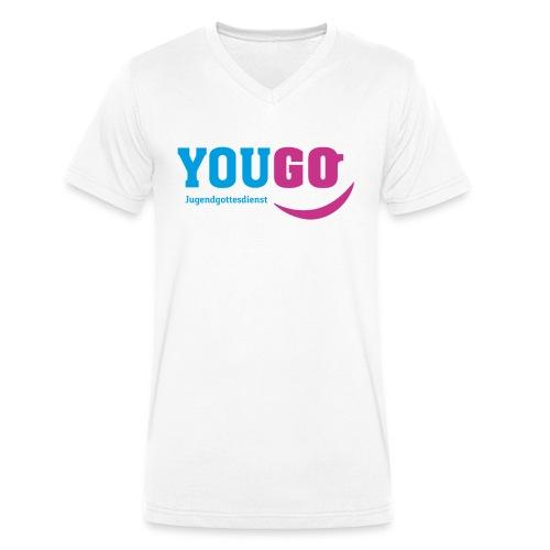 YouGo Blau-Magenta - Männer Bio-T-Shirt mit V-Ausschnitt von Stanley & Stella