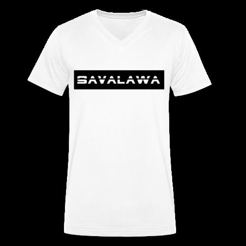 SavaLawa Schrift Schwarz/Weiß - Männer Bio-T-Shirt mit V-Ausschnitt von Stanley & Stella