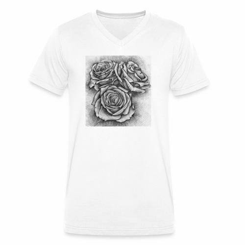 Graue Rosen ~ Print - Männer Bio-T-Shirt mit V-Ausschnitt von Stanley & Stella