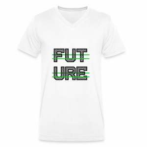 Future Clothing - Green Strips (Black Text) - Men's Organic V-Neck T-Shirt by Stanley & Stella