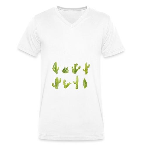 Cactus Design aquarelle - T-shirt bio col V Stanley & Stella Homme