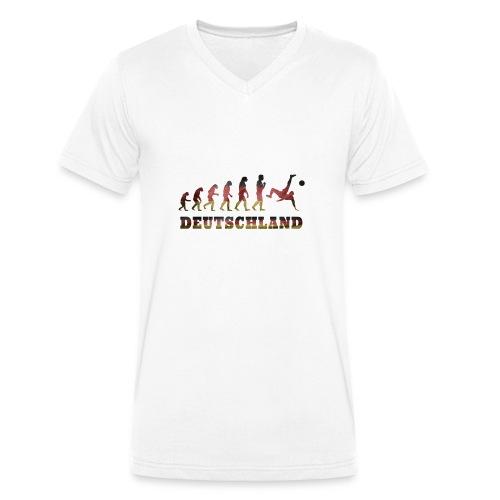 Evolution Fussball Deutschland - Männer Bio-T-Shirt mit V-Ausschnitt von Stanley & Stella