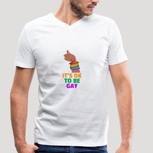 It's ok to be gay - Homosexuell - Bisexuell - LGBT - Männer Bio-T-Shirt mit V-Ausschnitt von Stanley & Stella