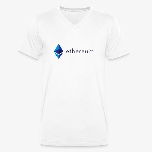 Ethereum Logo mit Schriftzug (Blau) - Männer Bio-T-Shirt mit V-Ausschnitt von Stanley & Stella