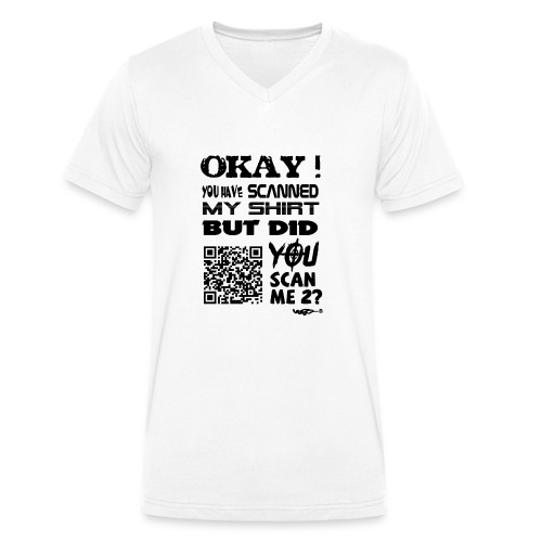 QR shirt for nosy people - Mannen bio T-shirt met V-hals van Stanley & Stella