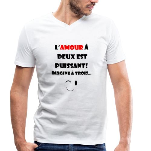 L'amour à deux... - T-shirt bio col V Stanley & Stella Homme