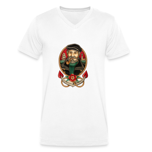 SEA CAPTAIN TATTOO - Men's Organic V-Neck T-Shirt by Stanley & Stella