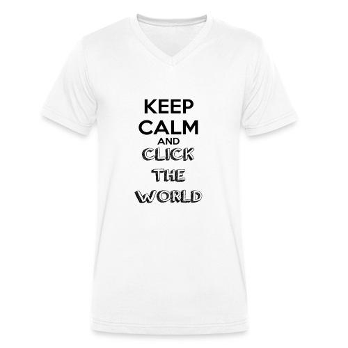 BORSA TESSUTO KEEP CALM AND CLICK THE WORLD - T-shirt ecologica da uomo con scollo a V di Stanley & Stella
