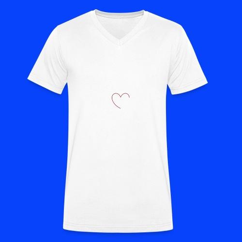 t-shirt bianca con cuore - T-shirt ecologica da uomo con scollo a V di Stanley & Stella