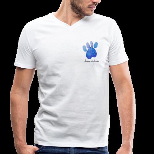 Tierfreund Choose Kindness Hundepfote Wasserfarben - Männer Bio-T-Shirt mit V-Ausschnitt von Stanley & Stella