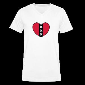 Hart met het symbool van de stad Amsterdam - Mannen bio T-shirt met V-hals van Stanley & Stella