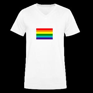 Gay pride rainbow vlag - Mannen bio T-shirt met V-hals van Stanley & Stella