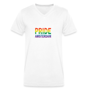 Pride Amsterdam in regenboog kleur - Mannen bio T-shirt met V-hals van Stanley & Stella
