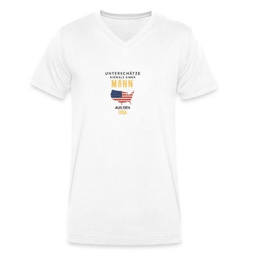 Unterschätze niemals einen Mann aus den USA! - Männer Bio-T-Shirt mit V-Ausschnitt von Stanley & Stella