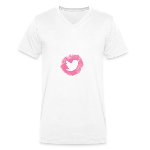 pink twitt - Men's Organic V-Neck T-Shirt by Stanley & Stella