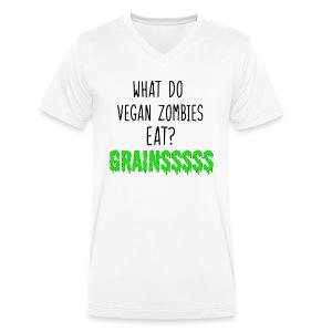 vegan zombie - Men's Organic V-Neck T-Shirt by Stanley & Stella