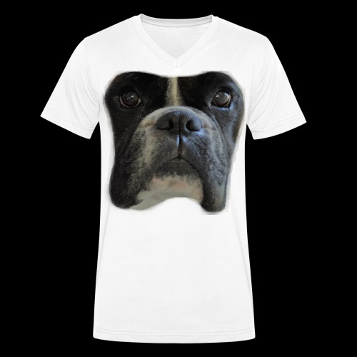 boxer big face - Men's Organic V-Neck T-Shirt by Stanley & Stella