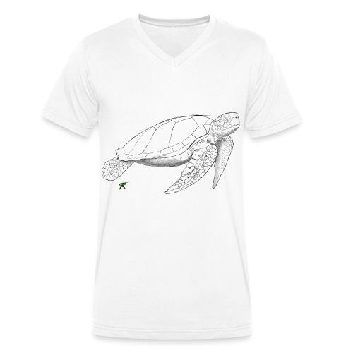 Sea turtle sketch - T-shirt ecologica da uomo con scollo a V di Stanley & Stella