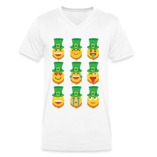 Awesome Leprechaun Emoji St. Patty's Green Feast B - Men's Organic V-Neck T-Shirt by Stanley & Stella