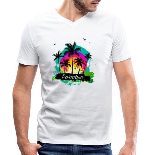 Paradise Palm Trees - Männer Bio-T-Shirt mit V-Ausschnitt von Stanley & Stella