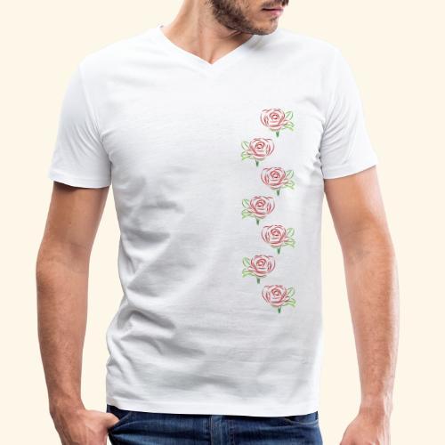 rote Rosen Kette Rose Ranke Blumen Blume Blüten - Männer Bio-T-Shirt mit V-Ausschnitt von Stanley & Stella
