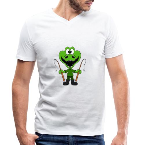 Lustiges Krokodil - Angeln - Angler - Fun - Männer Bio-T-Shirt mit V-Ausschnitt von Stanley & Stella