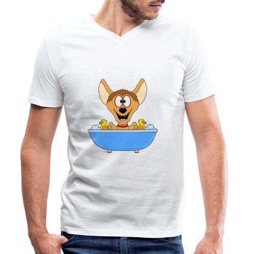Lustige Hyäne - Badewanne - Kinder - Baby - Fun - Männer Bio-T-Shirt mit V-Ausschnitt von Stanley & Stella